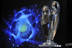 NYON, SWITZERLAND - AUGUST 06:  The UEFA Champions League trophy is displayed after the UEFA Champions League play-off draw on August 6, 2010 in Nyon, Switzerland. The play-offs are played over two legs on 17/18 and 24/25 August. The ten play-off winners will join the 22 automatic entrants in the UEFA Champions League group stage, the draw for which will be held in Monaco on 26 August 26, 2010. (Photo by Fabrice Coffrini/EuroFootball/Getty Images)